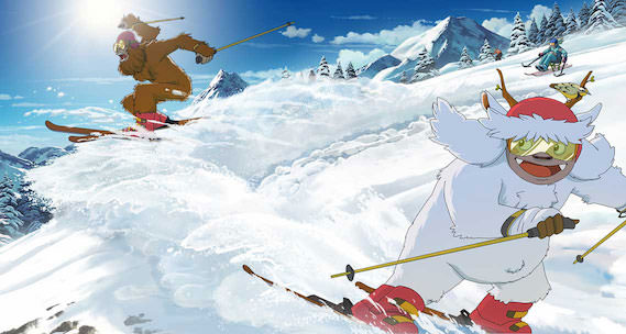 Yeti and Squatch are downhill skiing