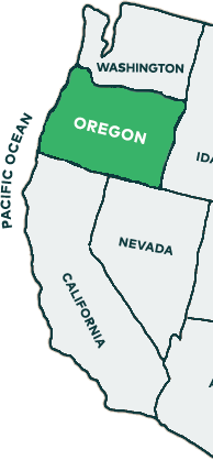 Oregon is on the west coast between Washington and California