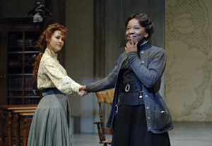Anya (Christine Albright, left) and Varya (Gwendolyn Mulamba) share a sisterly moment. Photo: David Cooper.