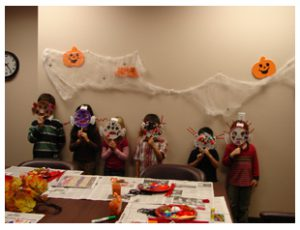 The group with their masks
