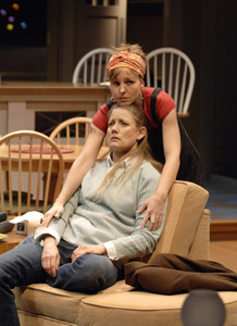 Izzy (Tyler Layton, back) reassures her sister, Becca (Robin Goodrin Nordli). Photo: David Cooper.