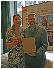 Travel Oregon CEO Todd Davidson with Cheryl Meloy, winner of the cocktail contest