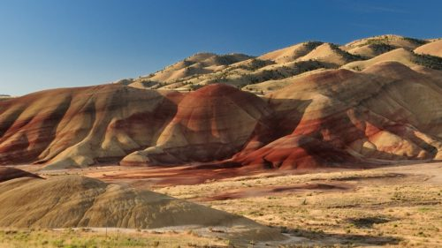 The reddish hues of the Painted Hills are outstanding.