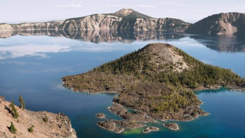Wizard Island is located in the middle of Crater Lake.