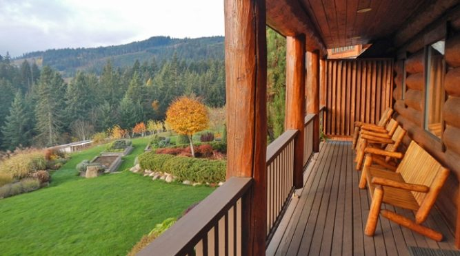 The back patio of Sakura Ridge over looks a lush valley.