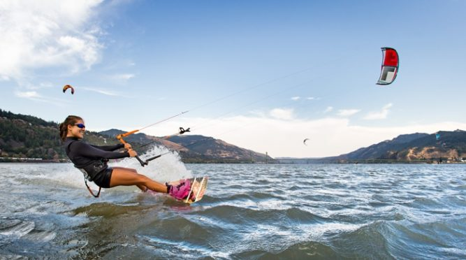 Windsurfer smiles on the Columbia River.