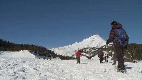 Snowshoeing on Mount Hood.