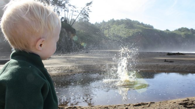 Does your kid like to throw rocks into water like mine does? He had lots of different types of water, all in one place.