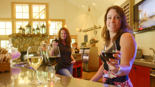 Female winemakers smile with glasses in cheers inside the charming tasting room of Red Lily Vineyards in Jacksonville, Oregon.