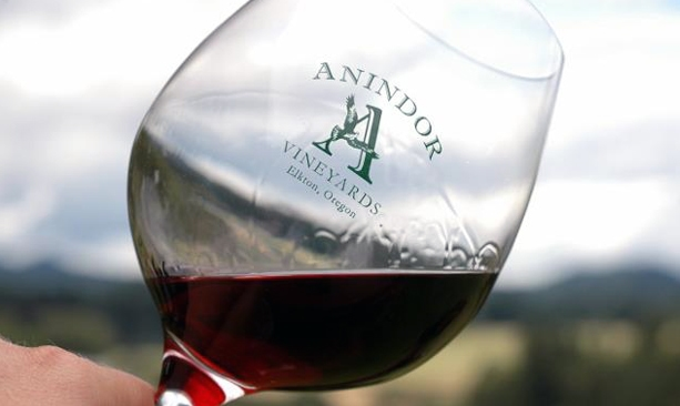 Red wine in an Anindor Vineyards glass.