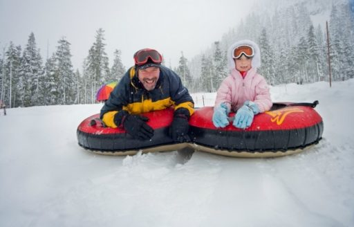 Adrenalin junkies of any age can shoot down a thrilling mountainside at Hoodoo Mountain Resort's Autobahn snowtubing park.