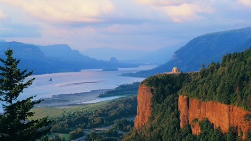 Vista House, built in 1916, on Crown Point in the Columbia River Gorge National Scenic Area. (Photo credit: Larry Geddis)