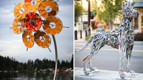 """""""Sunflower"""" by Patricia Vader and """"Guardian of the Lake"""" by Brian Mock on display at Lake Oswego's Gallery Without Walls. (Photo credit: Deb Hollister)"""