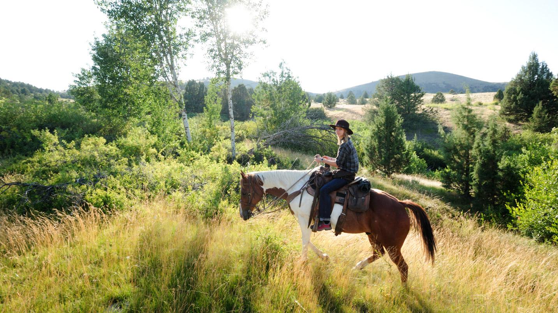A woman rides a horse along a ridgeline
