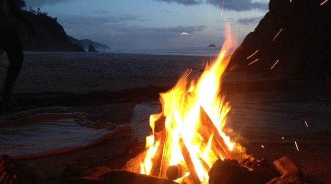 Hug Point beach bonfire