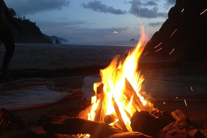 Hug Point beach bonfire