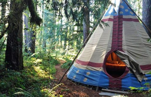 The tipis at Tipi Village Resort are outfitted with stone floors, rugs, wool blankets and down comforters.
