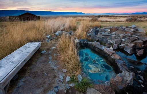 Summer Lake Hot Springs offers lodging and a rustic bathhouse for enjoying the 106- to 118-degree natural hot springs. (Photo credit: Tyler Roemer)