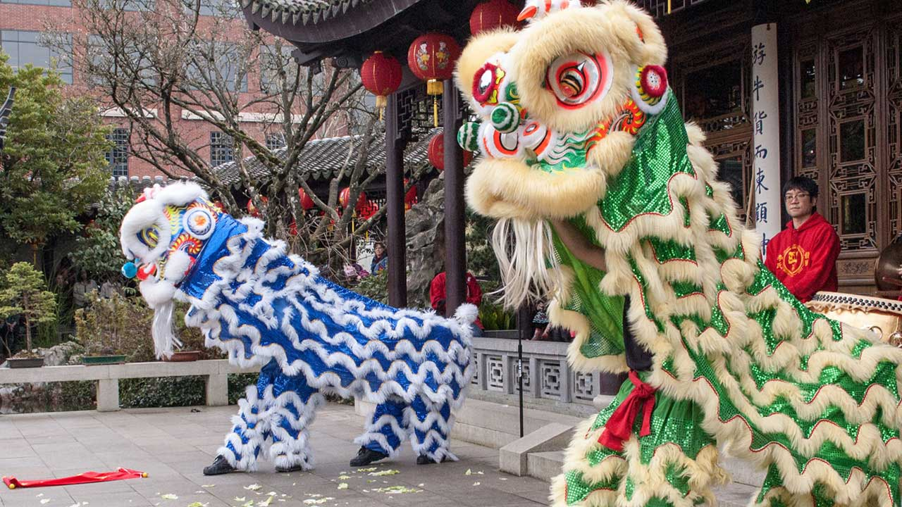 Dragon dancers celebrate Chinese New Year at the Lan Su Chinese Garden.