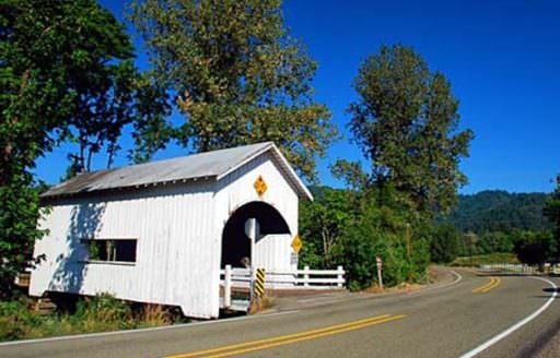 Visitors will appreciate the pieces of history scattered around Myrtle Creek, including several covered bridges. (Photo credit: Gary Halvorson, Oregon State Archives)