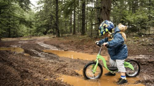 A little mud doesn't stop this adventurous toddler from traversing mountain bike trails in the Columbia River Gorge.