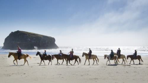 Saddle up a horse at Bandon Beach Riding Stables, then weave through sand stacks and absorb the majestic ocean view.