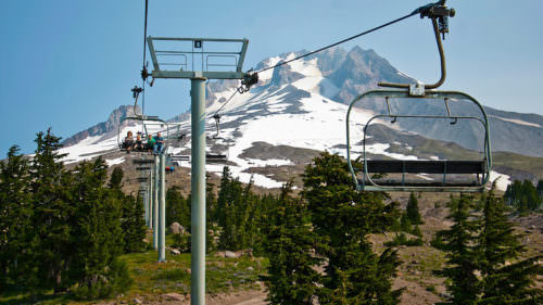 Scenic rides on the Magic Mile chairlift at Timberline Ski Area. (Photo credit: Timberline Lodge)