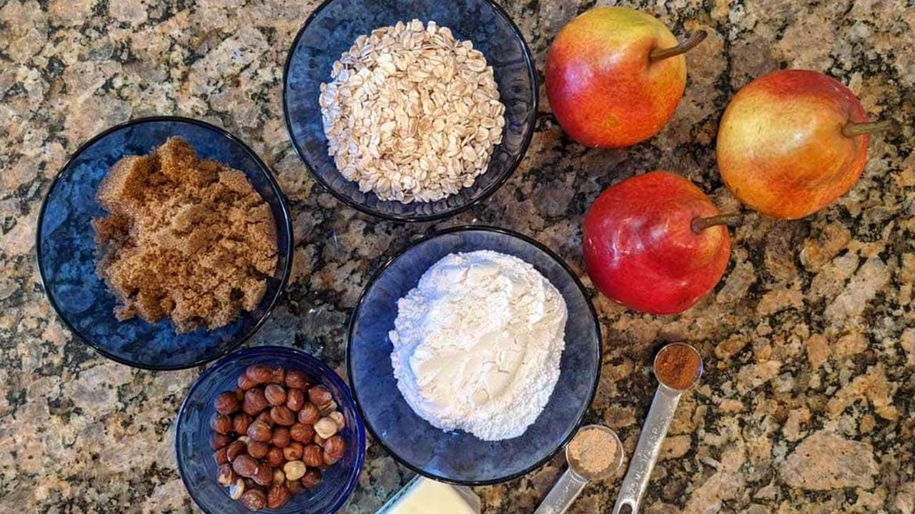 Ingredients in blue bowls.