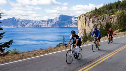 At Ride the Rim in September, cyclists, runners and hikers get to enjoy the pristine beauty of Crater Lake National Park's East Rim Drive without vehicle traffic. (Photo credit: Tyler Roemer)