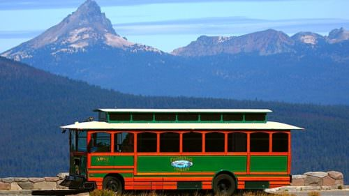 Hop on the Crater Lake Trolley with your bike to to see the park at a leisurely pace, or to haul your bike to the start line at Ride the Rim, the car-free celebration set for two weekends in September. (Photo by Discover Klamath)