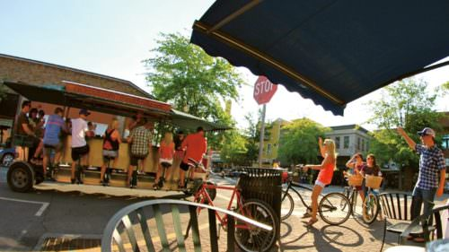 Bend has established itself as a craft beer destination, with businesses like Cycle Pub offering tours of breweries via passenger-pedaled trolleys.