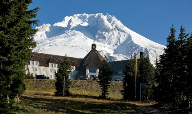 The snowy peak of Mt. Hood looms above Timberline Lodge