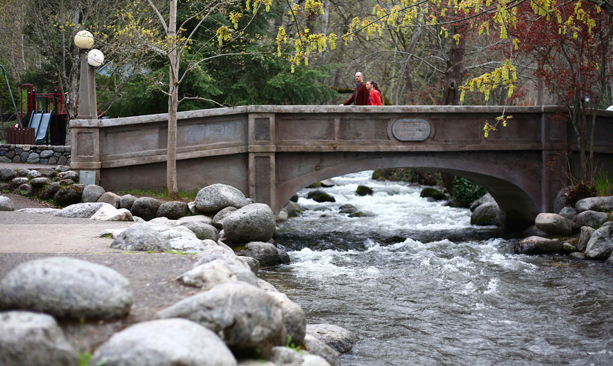 A river rushes under a bridge in Lithia Park in Ashland.