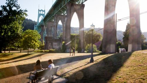 "The show's crew of librarians operates out of a ""library annex,"" located in the iconic Cathedral Park beneath the St. Johns Bridge. (Photo by Leah Nash)"