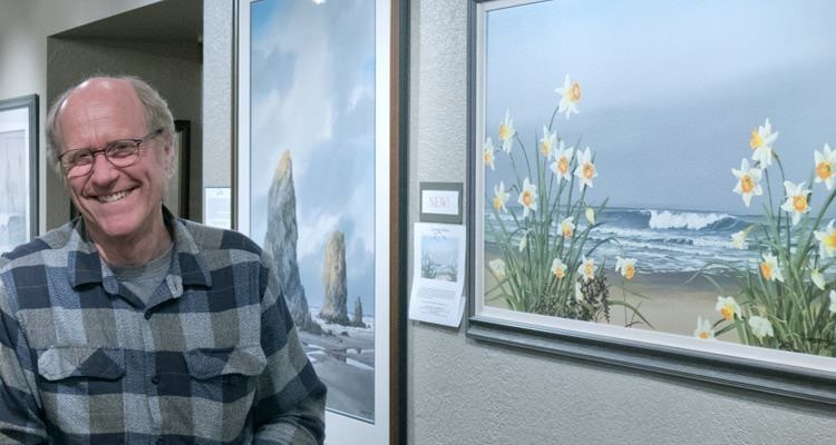 Cannon Beach watercolor artist Jeffrey Hull at a reception in his gallery