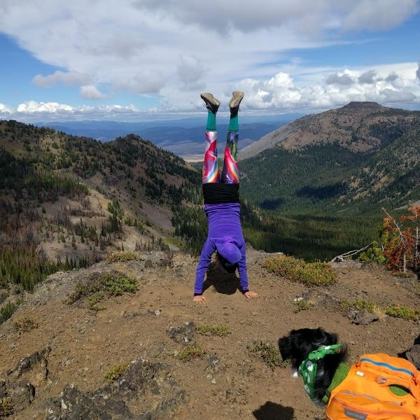 Handstand at the top of the mountain