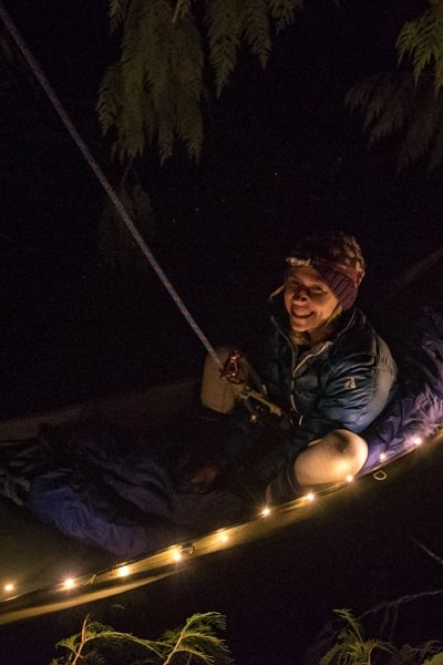 Settled in lit-up Treeboat for the night