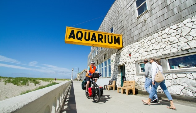 Seaside Aquarium with bicyclist
