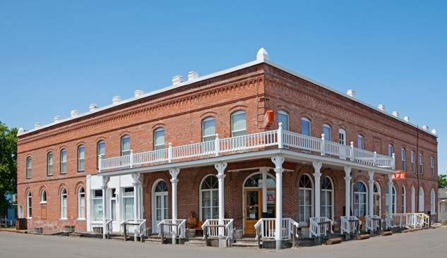 The historic Shaniko Hotel, renovated but closed, marks the center of the near-ghost town