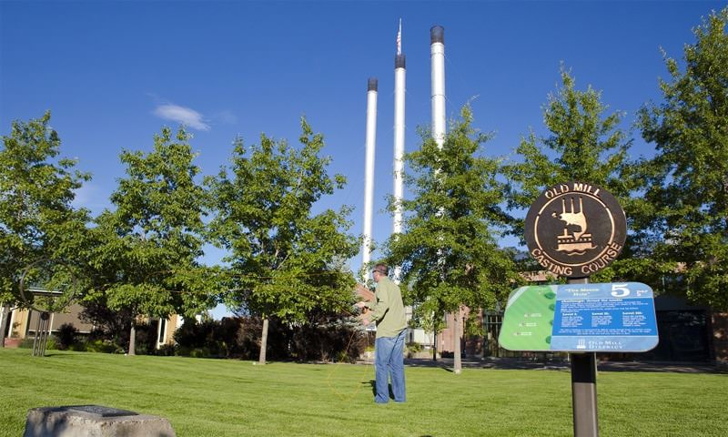 Practicing fly fishing in Bend's Old Mill District