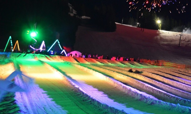 Mt. Hood Skibowl lighted up in colors