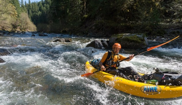 Kayaker paddling the Middle Fork of the Santiam River