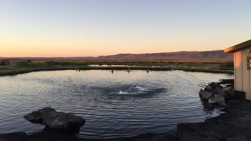 Sunrise or sunset soaks are unrivaled at the visitor-friendly Crystal Crane Hot Springs, 25 miles southeast of downtown Burns.