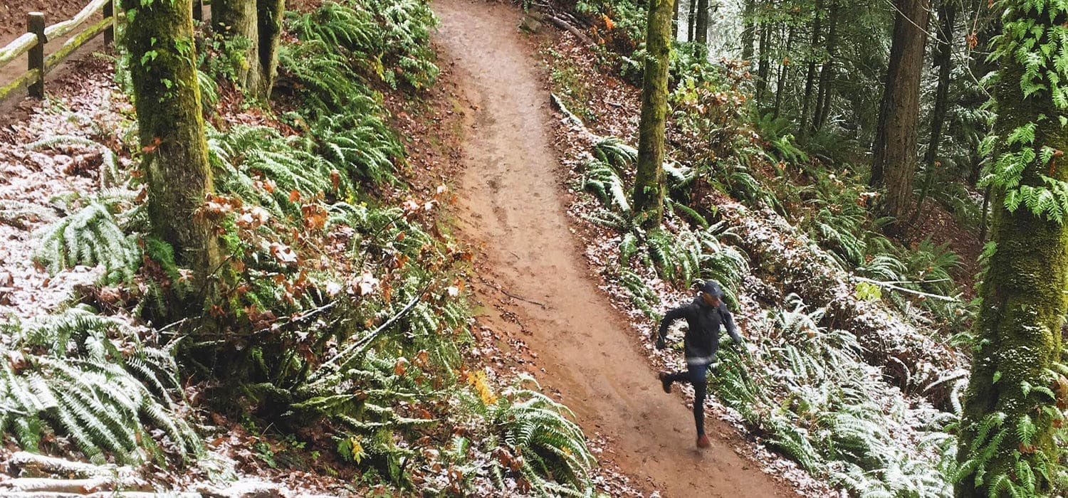 Portland chef Gregory Gourdet runs down the Wildwood Trail on a winter day.