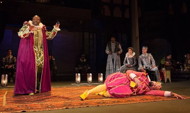 Tyrone Wilson and ensemble perform the play-within-a-play scene in the Oregon Shakespeare Festival's 2016 production of Hamle