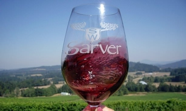 Glass of pinot noir at Sarver Winery