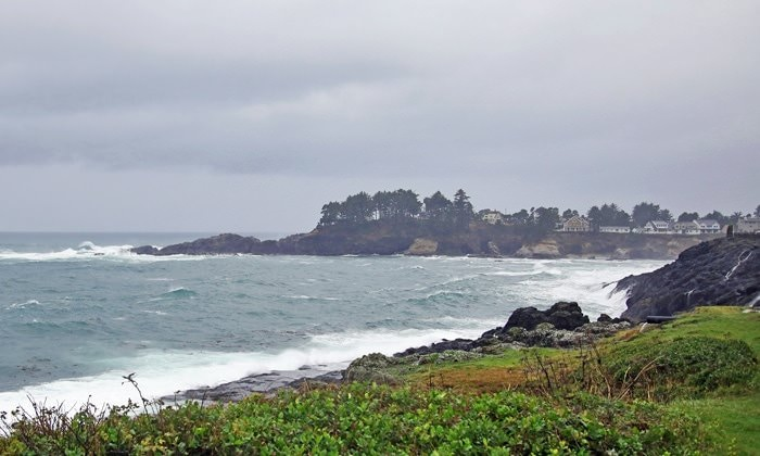 Depoe Bay on a cloudy day