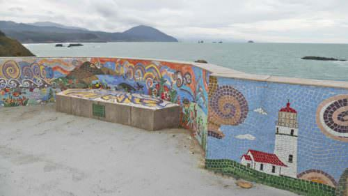 Port Orford boardwalk murals overlooking the water