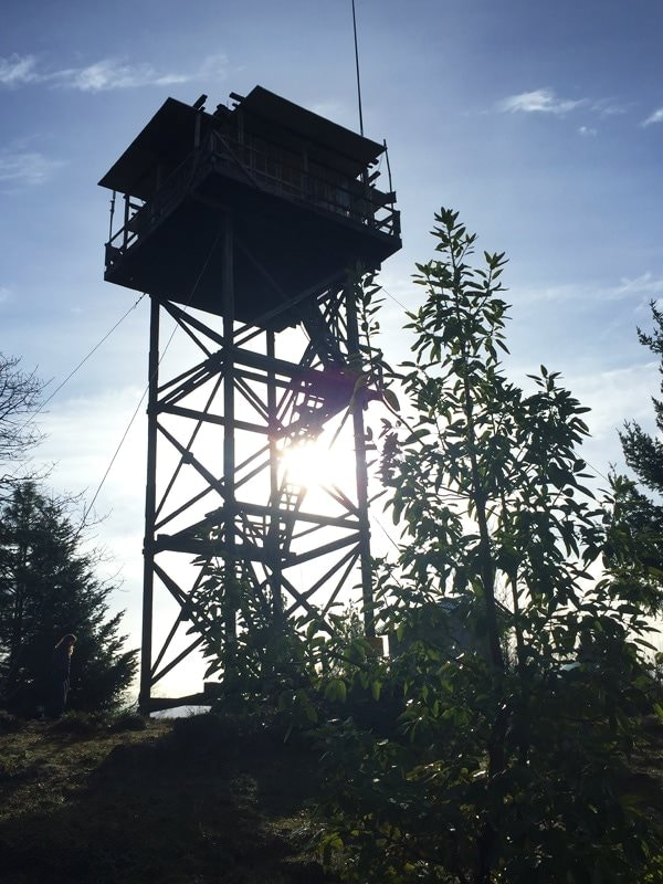 Outline of Pickett fire lookout in sunshine