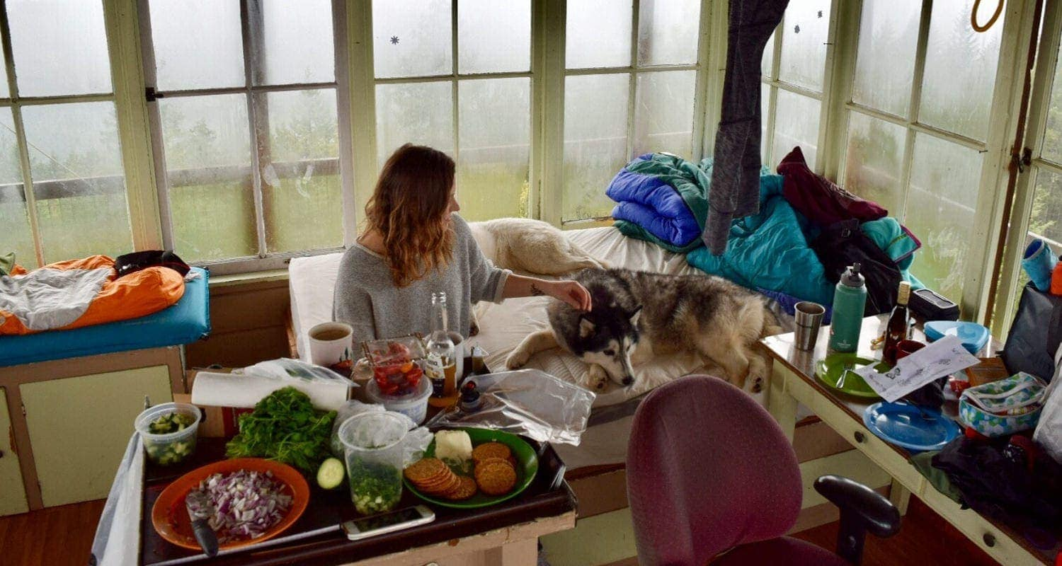 Rainy day inside Fivemile Butte fire lookout